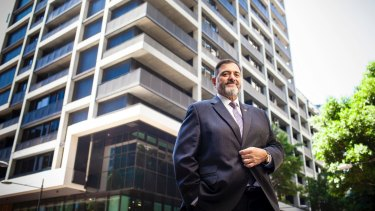 Quest founder Paul Constantinou outside one of Quest's properties in Melbourne's Docklands.