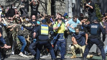 Anti-lockdown protesters in Melbourne on Saturday.