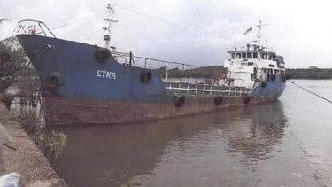 The rusty tanker, pictured near Kota Tinggi in Johor state, that  Malaysian police intercepted.