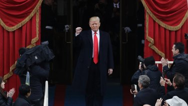 President-elect Donald Trump arrives for his inauguration on January 20, 2017.