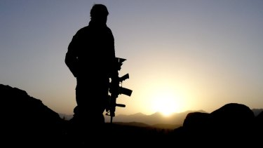 An Australian Special Operations Task Group soldier on patrol in Afghanistan.