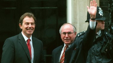 Tony Blair with the then Australian prime minister John Howard  outside Downing Street in 1997.