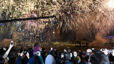 Fireworks after Brisbane was announced as the host city of the 2032 Olympics.