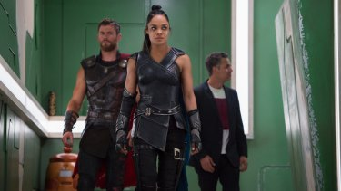 Thor (Chris Hemsworth), Valkyrie (Tessa Thompson) and Bruce Banner bring their powers to Moonlight Cinema in Thor: Ragnarok.