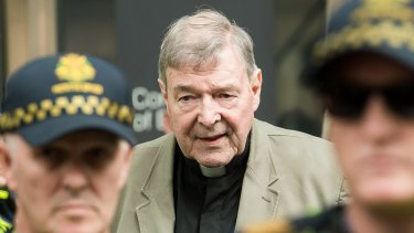 Cardinal George Pell leaving the County Court last month.