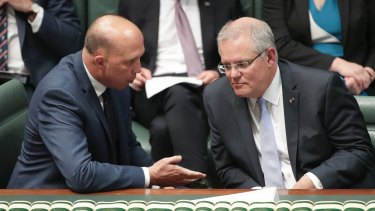 Home Affairs Minister Peter Dutton and Prime Minister Scott Morrison during question time in October.