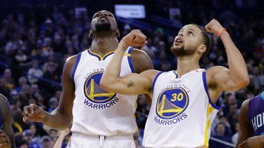 Popular: Curry (right) and Durant have been named starters once again.