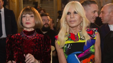 Donatella Versace, right, pictured with Vogue Editor-in-Chief Anna Wintour last year.