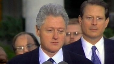 Then president Bill Clinton, making a short statement after being impeached  in 1998. He was later were acquitted by the Senate.