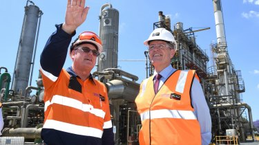 Bill Shorten visits an industrial chemicals plant in Brisbane last October.
