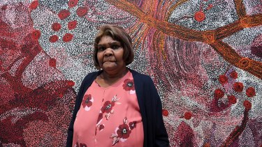 Artist Sylvia Ken in front of her painting Seven Sisters which won the Wynne prize in 2019.