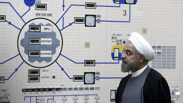 Iranian President Hassan Rouhani visits the Bushehr nuclear power plant in 2015.