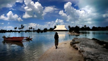 Climate change and rising sea levels are affecting the Kiribati Islands in the Pacific Ocean.