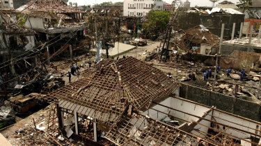 An aerial view of the impact of the October 12, 2002, bombing, committed by terror group Jemaah Islamiyah, of which Bashir was the spiritual leader.