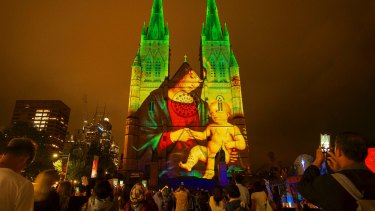 Christmas lights at St Mary's Cathedral in Sydney, 2018