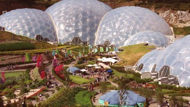 The enormous geodesic domes of the Eden Project cover a former china clay pit in Cornwall, England.