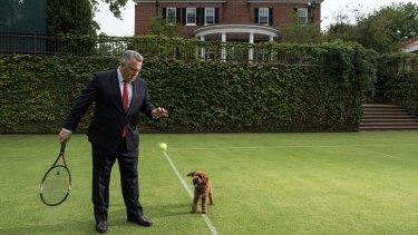 Joe Hockey oversaw the restoration of the grass tennis court at the Australian ambassador's residence in Washington DC.