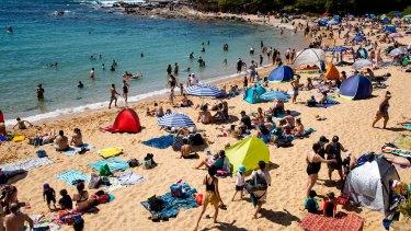 Busy beaches: Little Bay Beach in Sydney on Monday.
