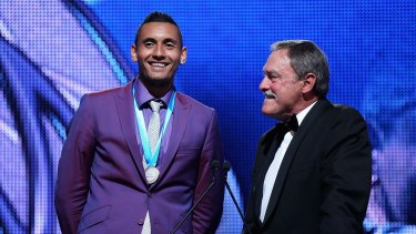 Nick Kyrgios with John Newcombe.