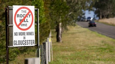A protest sign in Forbesdale, near Gloucester, opposing the proposed Rocky Hill coal mine.