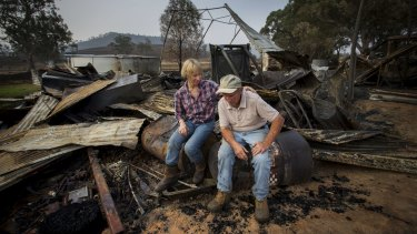 Sandy Wicks and her father Linton Vogel after fire ripped through Cudgewa in North Eastern Victoria.
