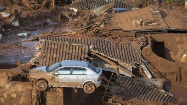 A car and two dogs are seen on the roof of destroyed houses in the small town of Bento Rodrigues after the Samarco dam collapse in 2015.