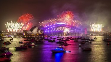 New Year's Eve fireworks on Sydney Harbour, viewed from Mrs Macquarie's Chair. 1st January 2020.