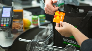 The Woolworths Rewards card in action.