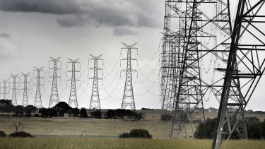 Power lines transmitting electricity from Origin's Mortlake gas power station.