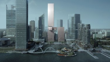 Artists impression of Brookfield's proposed mixed use development at Elizabeth Quay lots 5 and 6 released in November 2017.