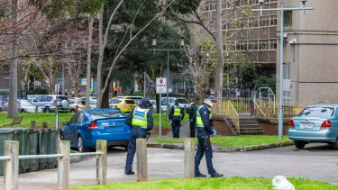 Police are seen on patrol outside the North Melbourne Public housing flats on July 05, 2020.