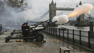 Gun salutes, like this one pictured in front of London's Tower Bridge, to mark the Queen's birthday will not go ahead in 2020 with celebrations cancelled because of the coronavirus pandemic.