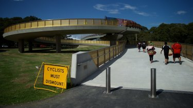 """The Albert """"Tibby"""" Cotter Bridge over Anzac Parade at Moore Park."""