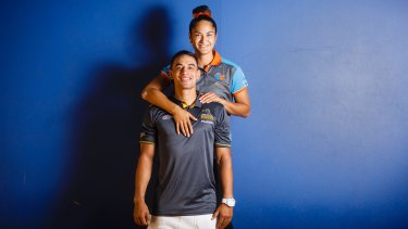 Canberra Giants co-captain Ngawai Eyles with ACT Brumbies partner Wharenui Hawera.