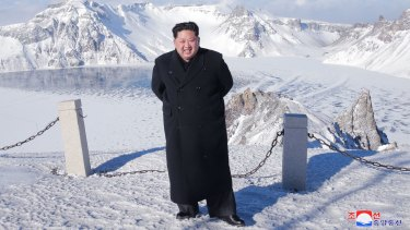 """North Korean leader Kim Jong-un was said to have climbed Mount Paektu in """"smart shoes"""" last year."""