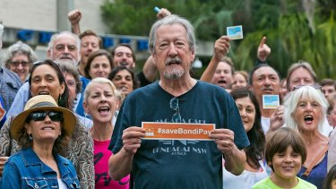 Actor Michael Caton protesting with a group of residents in 2016.