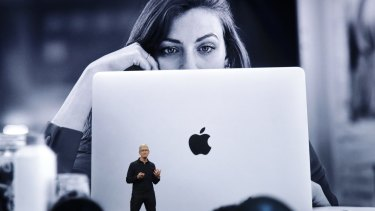 Apple CEO Tim Cook speaks at the Apple Worldwide Developers Conference in San Jose, California, on June 3.