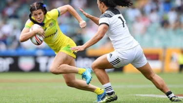 Major blow: Charlotte Caslick was ruled out of the Dubai 7s with a hamstring injury.