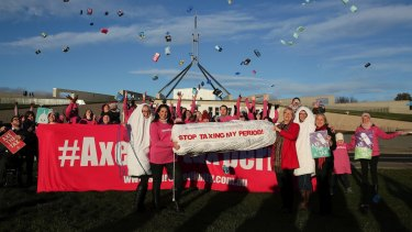 Greens Senators Janet Rice and Lee Rhiannon join protestors against the tampon tax at Parliament House in June 2018.