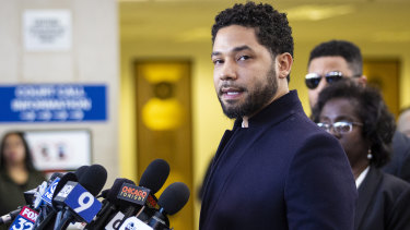Smollett spoke briefly outside court after all charges were dropped, saying he was innocent.