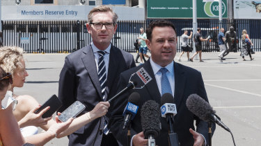 NSW Treasurer Dominic Perrottet and Minister for Sport Stuart Ayres announce the demolition and reconstruction of the Sydney Football Stadium.