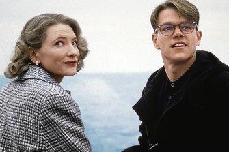 Matt Damon as Patricia Highsmith's antihero, Tom Ripley, with Cate Blanchett in The Talented Mr Ripley.