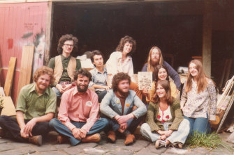 Andrew Herington (front row, far left in green shirt) with Friends of the Earth in 1979.