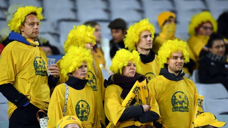 Slim pickings: Australian fans watching game 1 of last year's Bledisloe Cup series in Sydney.