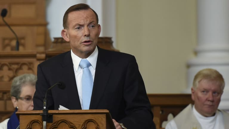 Former prime minister Tony Abbott at the Canberra Baptist Church in 2015.