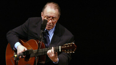 Joao Gilberto performs at Carnegie Hall in New York in 2004.