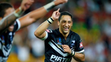 Glory days: Benji Marshall and his New Zealand teammates celebrate victory in the World Cup final in 2008,