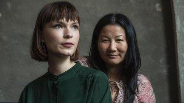 Director Unjoo Moon (right) with star Tilda Cobham-Hervey before shooting I Am Woman.