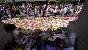 The floral tributes to the victims of the 2017 Bourke Street Mall rampage.