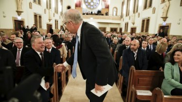 Opposition Leader Anthony Albanese and Prime Minister Scott Morrison during an ecumenical service to commemorate the opening of the 46th Parliament, at St Christopher's Cathedral in Canberra last week.